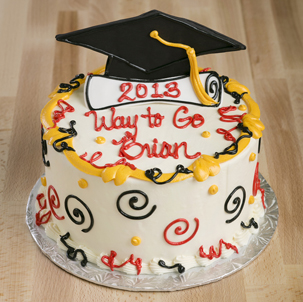 """Standing Grad Cap and Diploma - 6"""" Single Round"""