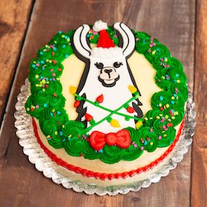 "Fa-La-La-Llama Cake- 8"" Single"