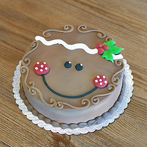 """Gingerbread Face- 6"""" Single Round"""