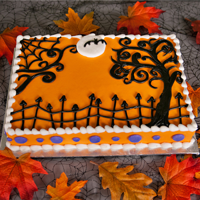 Halloween Sheet Cake Decorating Ideas : Spooky Trees - Spooky Trees - Half Sheet