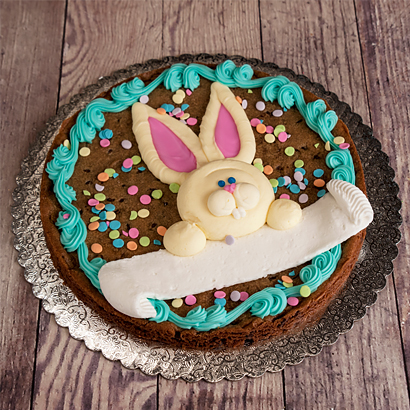 "Bunny Banner Cookie Cake- 8"" Round"