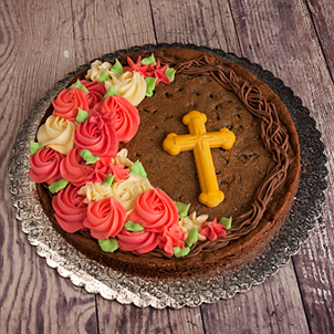 "Grapevine Wreath Cookie Cake with Sugar Cross- 8"" Round"