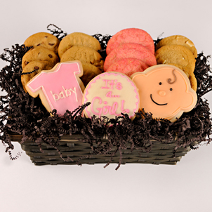 """Basket of Joy - Baby Girl"" Cookie Basket"