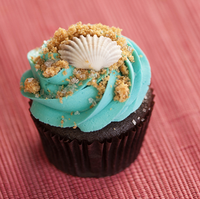 Decorated Cupcakes Seashell Decorated Cupcake