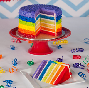"Rainbow Ruffles- 10"" Double Round"