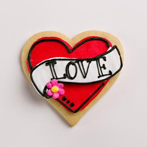 """Love"" Tattoo Heart Cookie"