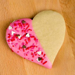 Pink Dipped Heart Cookie