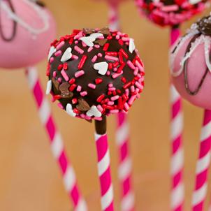 Chocolate Cake Pop-Valentine Sprinkle-1/2 Dozen