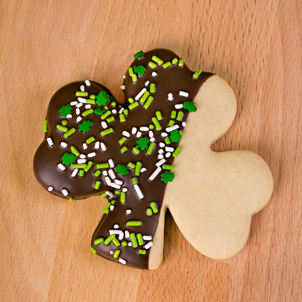 Chocolate Dipped Shamrock Cookie- 1/2 Doz