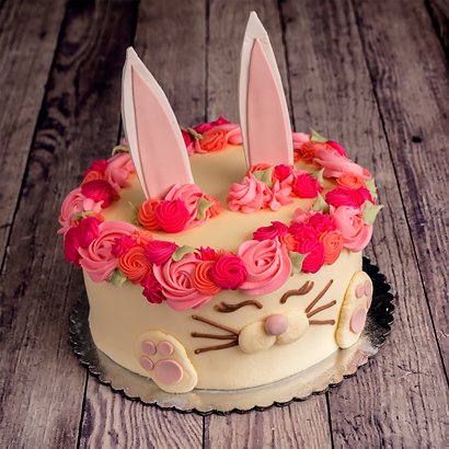"""Cute Bunny Cake 8"""" Double Round"""