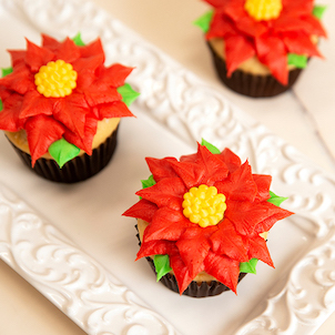 Poinsettia Decorated Cupcake