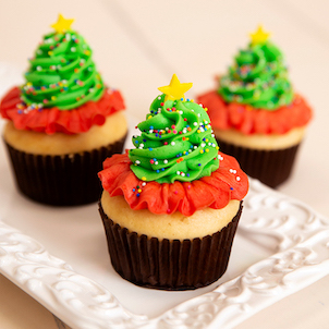 Christmas Trees Decorated Cupcake