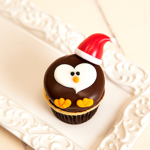Santa Penguin Decorated Cupcakes