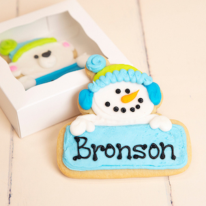 Snowman Personalized Cookie