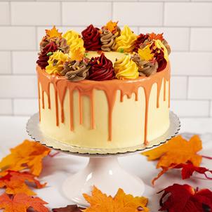 Fall Rosette Drip Cake