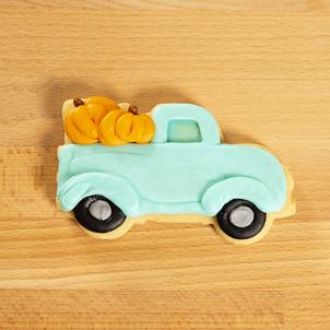 Pumpkin Truck Decorated Cookie