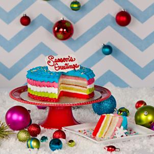 """Christmas Rainbow- 8"""" Single Cake"""