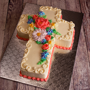Floral Cross Cut-Out Cake