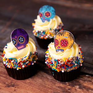 Day of the Dead Ring Decorated Cupcakes