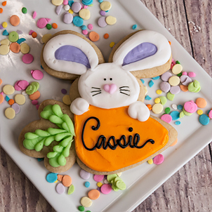 Bunny On Carrot Cut-Out Cookie
