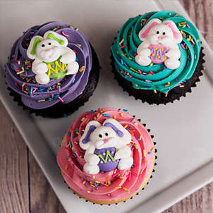 Colorful Bunnies Decorated Cupcake
