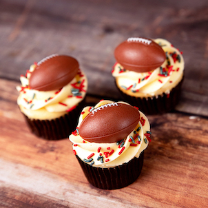 Football Ring Decorated Cupcake