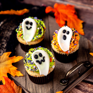 Spooky Ghost Decorated Cupcake