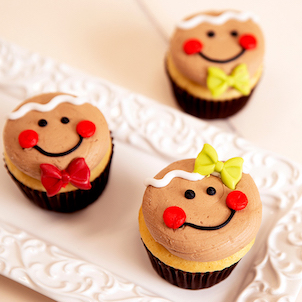 Gingerbread Face Decorated Cupcakes