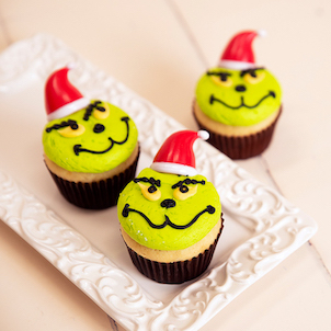 Grinchy Decorated Cupcake