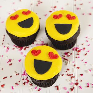 Heart Eyes Emoji Decorated Cupcake