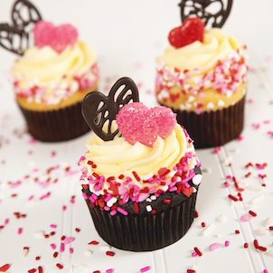 Lace Heart Decorated Cupcake