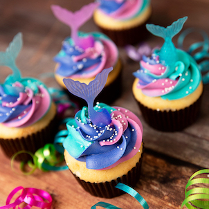 Mermaid Tail Pick Decorated Cupcake