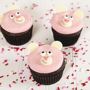 Pink Bear Decorated Cupcake