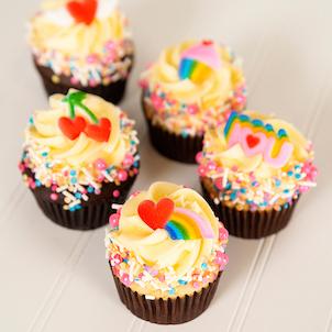 Rainbow Valentine Decorated Cupcake