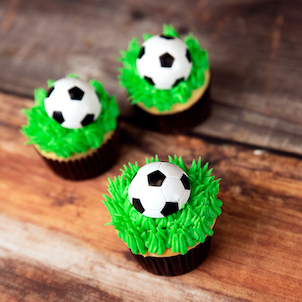 Soccer Ring Decorated Cupcake