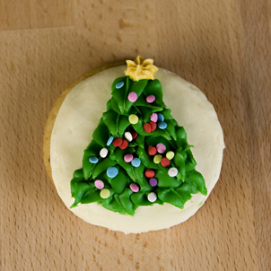 Christmas Tree Round Sugar Cookie