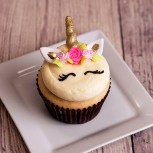 Unicorn Face Decorated Cupcake